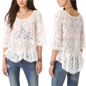 Free People  White Lace Scalloped Sheer Top
